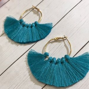 Jewelry - Teal boho tassel hoop earrings